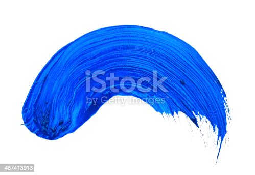 467414017 istock photo blue stroke of the paint brush isolated on white 467413913