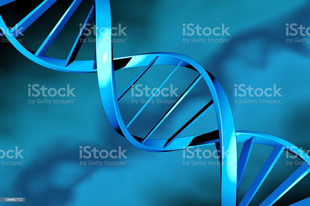 A blue structured strand of DNA stock photo