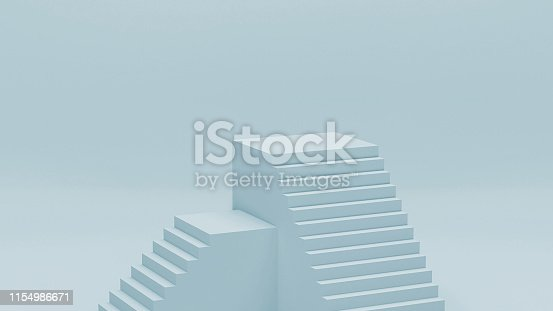istock Blue studio room, realistic staircase concept, 3d illustration. Modern stair background with space for merchandising and advertising 1154986671