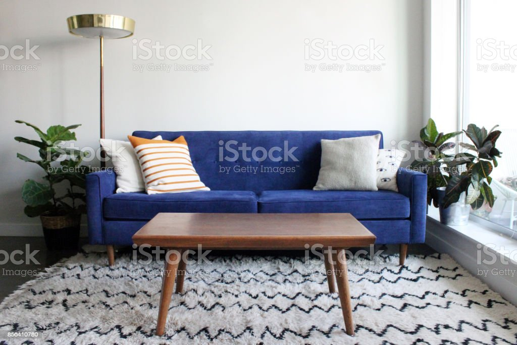 Blue Suede Mid Century Modern Couch In Minimalist Apartment Setting Stock Photo Download Image Now Istock