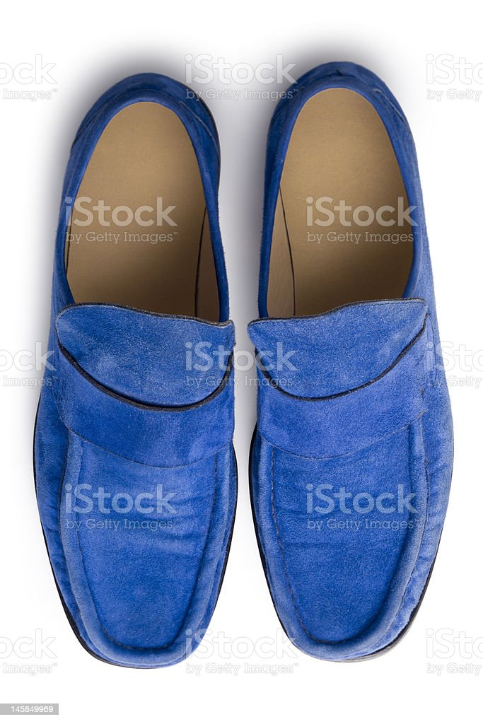 Blue suede shoes from above stock photo