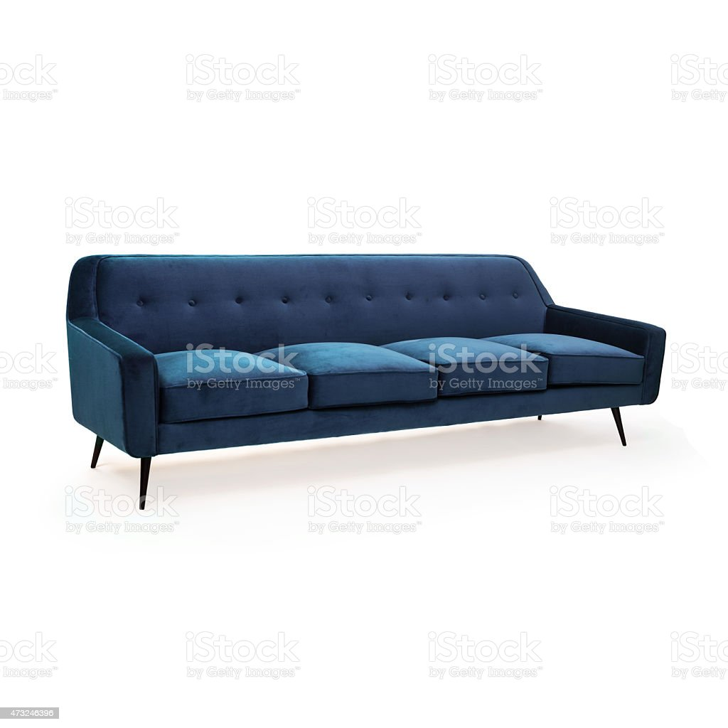 Blue Suede Sofa Front View Stock Photo - Download Image Now ...