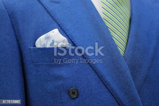 istock Blue suit with tie and handkerchief 517515992