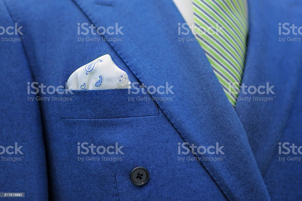 Blue suit with tie and handkerchief stock photo