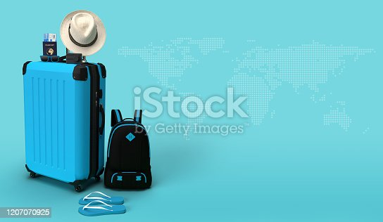 blue suitcase with passport, airplane ticket, sun glasses, hat, camera, flipflop, bagpack on map background. travel concept. 3d render illustration image with copy space for your text promotion.