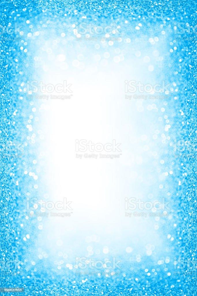 blue summer pool party border frame glitter background