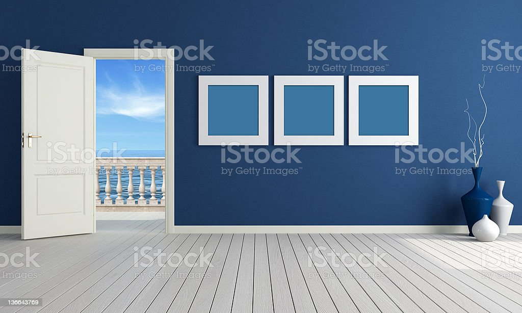 Blue summer room stock photo