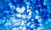 Blue summer sky of white cirrus,cumulus and layered air clouds,with heart shaped cloud in middle,on beautiful day.Banner,texture or abstract background for text,blog,design,card,website,pattern,model.
