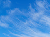 Wispy clouds against blue sky.