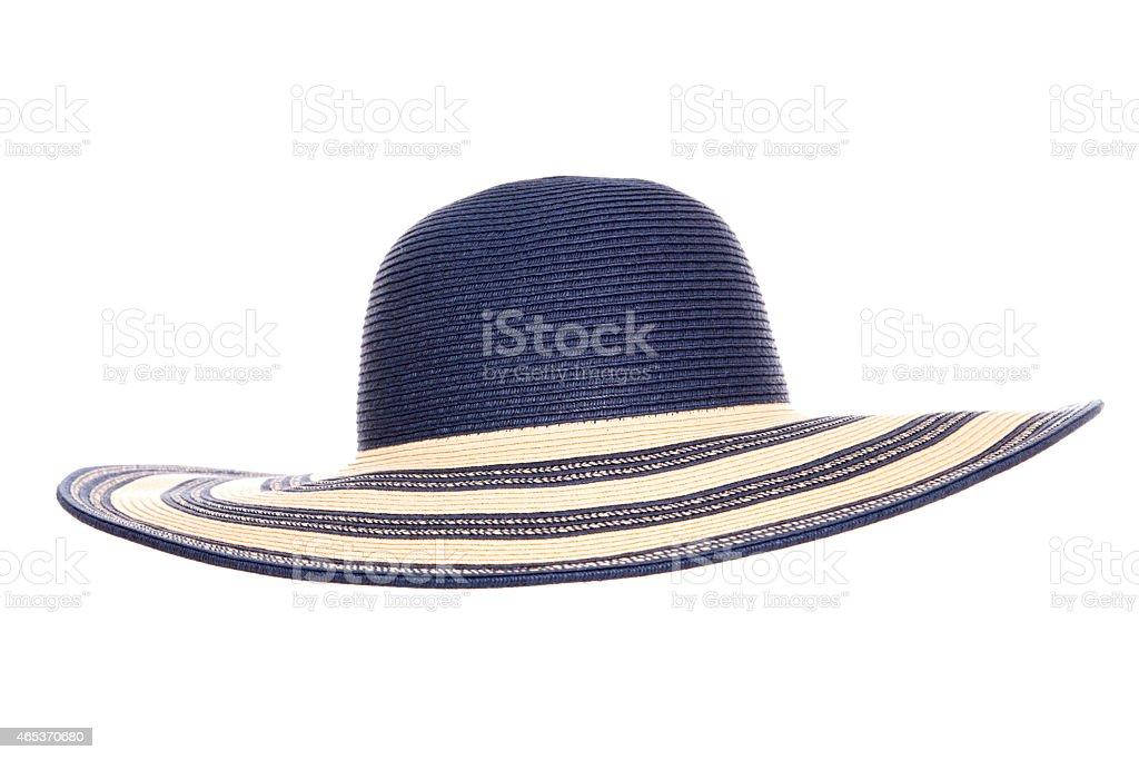 blue summer sun hat stock photo