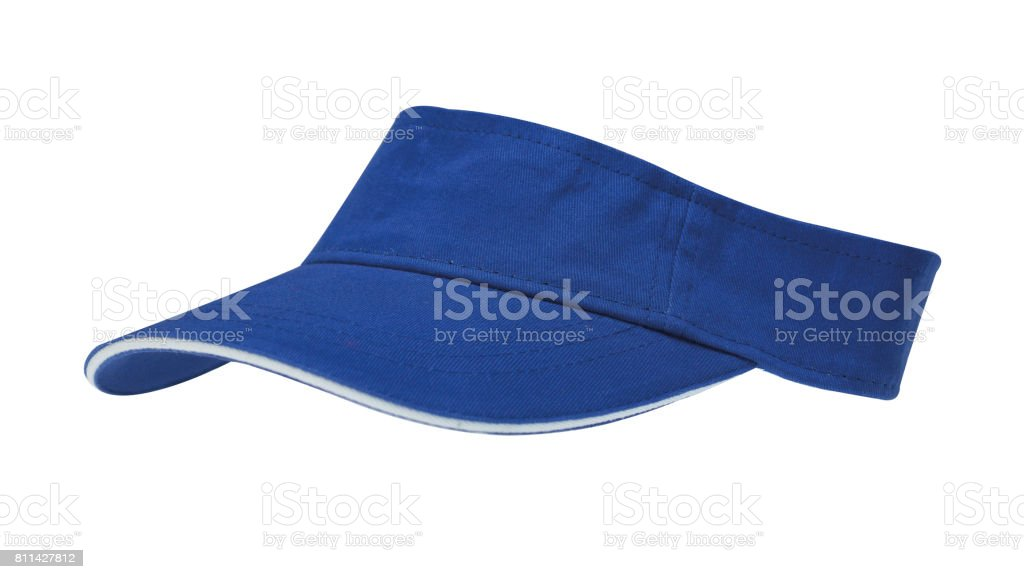 Blue sun visor with white border on white background, clipping path included stock photo