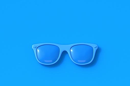 Blue sunglasses 3D render illustration isolated on blue background