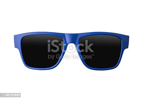 blue sunglasses, isolated, white background, studio shot