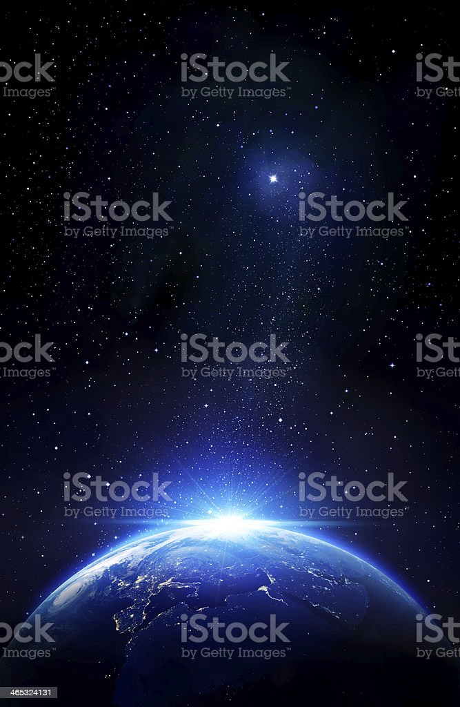 blue sunrise and star, view of earth from space stock photo
