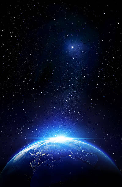 blue sunrise and star, view of earth from space - space exploration stock photos and pictures