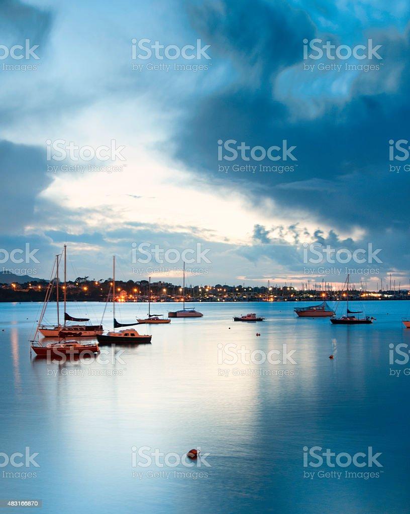 Blue sunrise stock photo