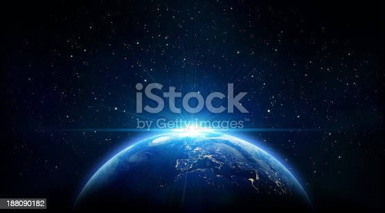 istock blue sunrise, view of earth from space 188090182