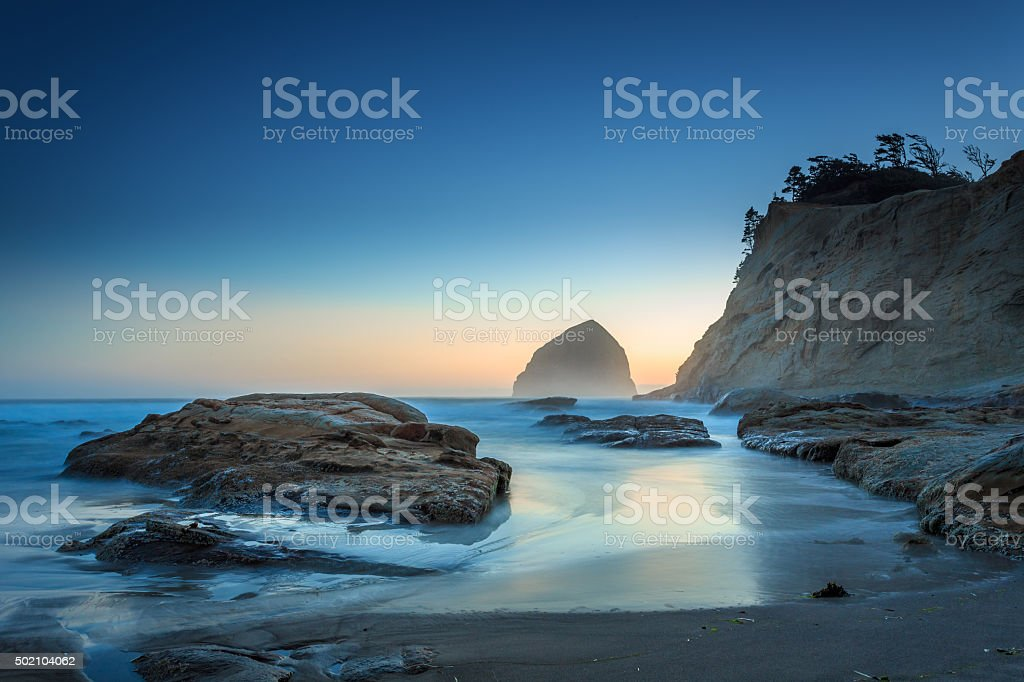 Blue Sunset at Cape Kiwanda stock photo