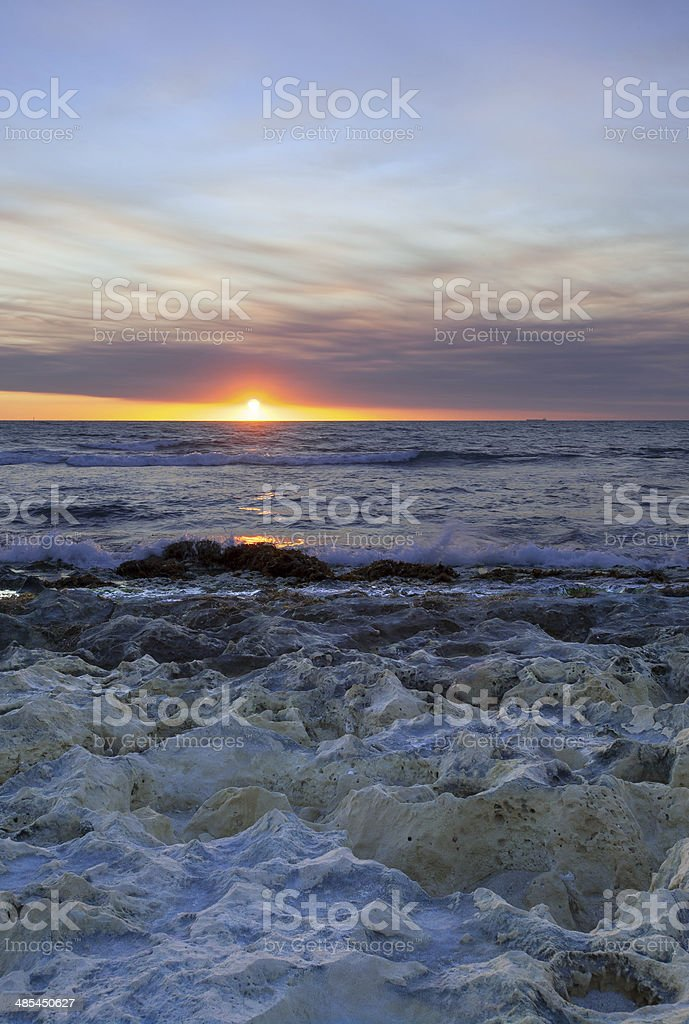 Blue sunset over Indian Ocean stock photo
