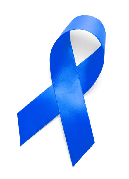 blue support ribbon - award ribbon stock photos and pictures