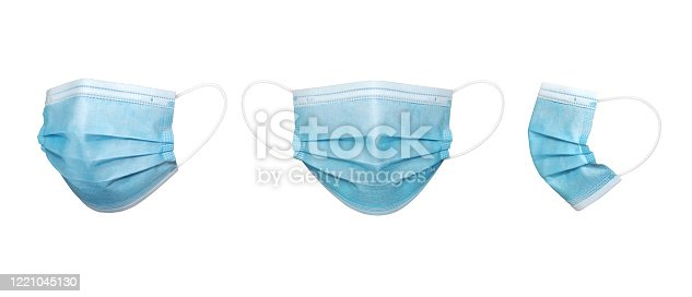 3 perspective angles  Blue Surgical mask in isolated
