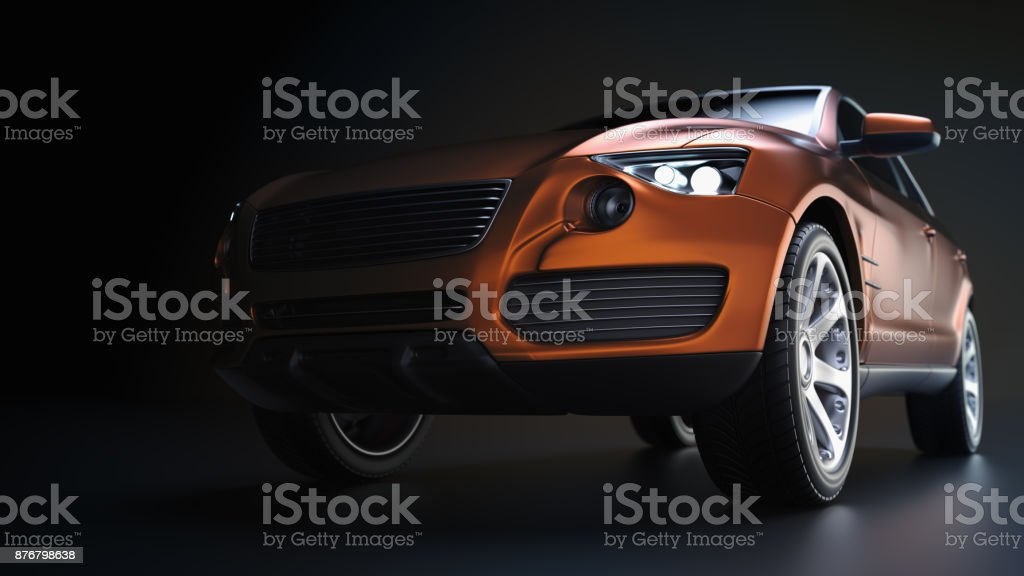 Blue suv car in studio photography. stock photo