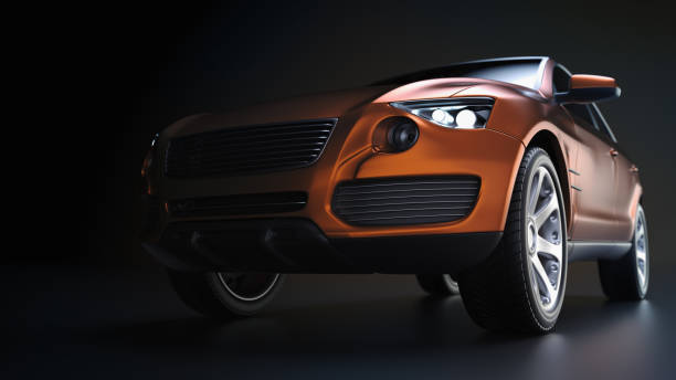 blue suv car in studio photography. - transport truck tyres foto e immagini stock