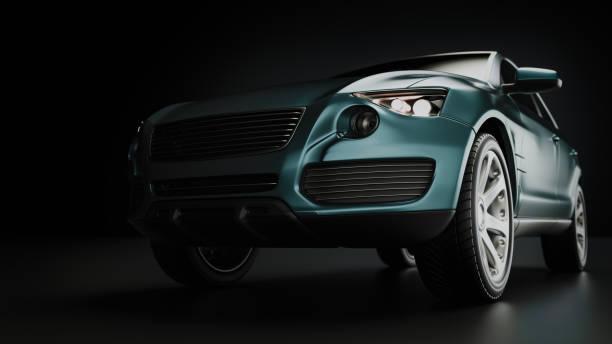 blue suv car in studio photography. - close up auto foto e immagini stock