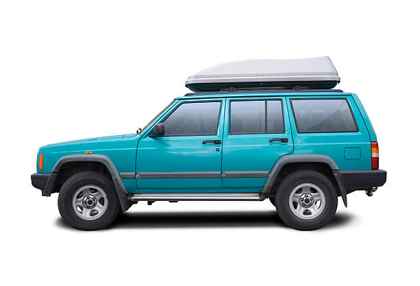 Blue SUV with clipping paths  side view stock pictures, royalty-free photos & images