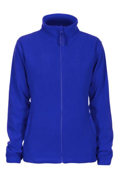 blaues sweatshirt fleece für frau - fleecepullover stock-fotos und bilder