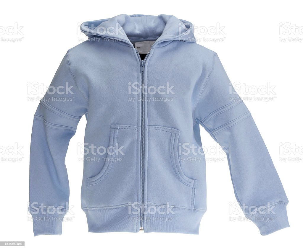 Blue sweat-shirt on white background stock photo