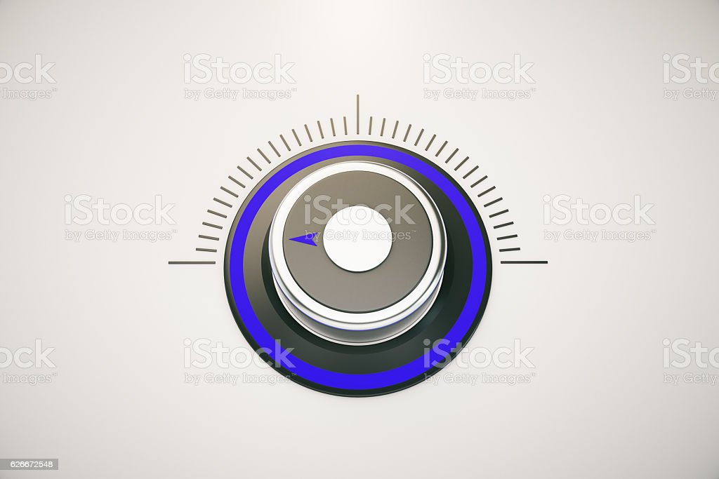 Blue switch on low stock photo
