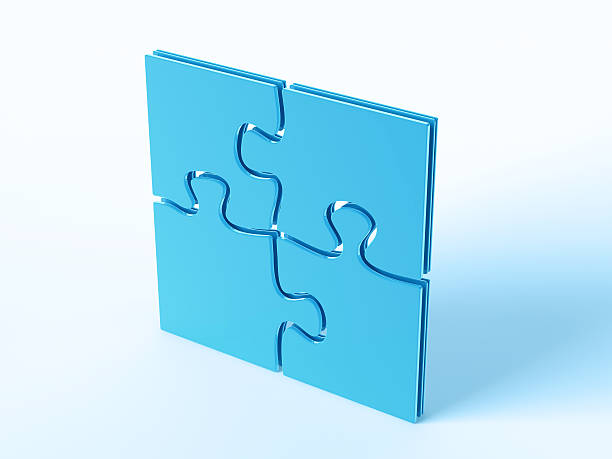 Blue Symbol Four Puzzle Pieces 3D Render of a finished jigsaw puzzle with four blue puzzle pieces. Concept image for a finished project. Very high resolution available! blue 3d business NOT map NOT background stock pictures, royalty-free photos & images