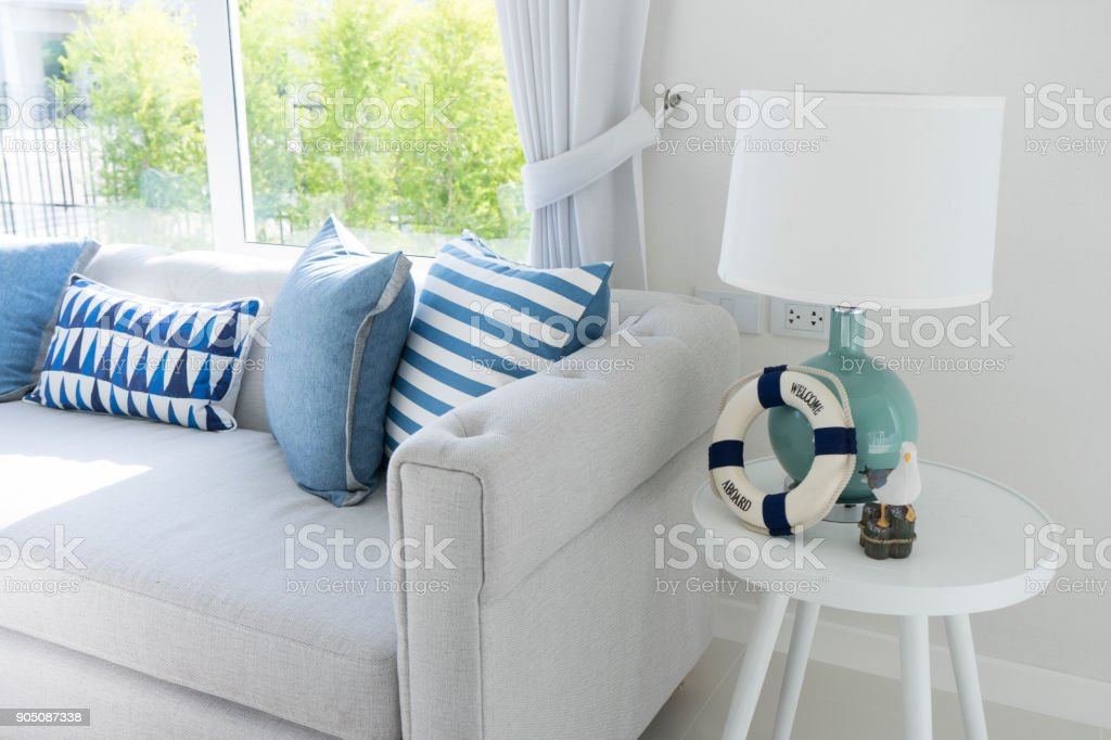 blue table lamp in living room stock photo