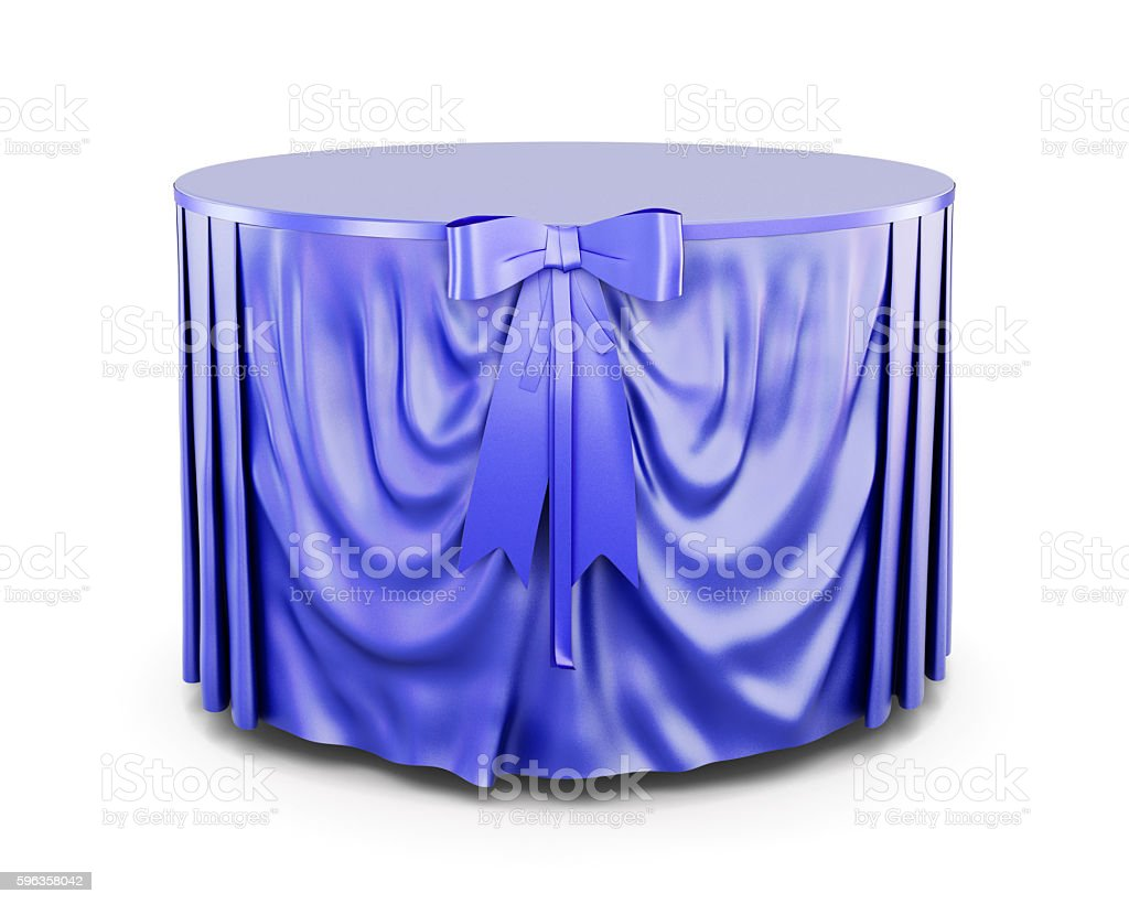 Blue tablecloth on round table isolated on white background. 3d stock photo