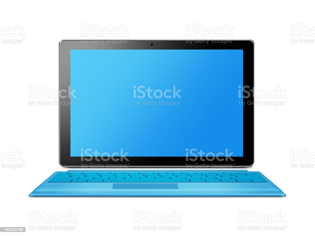 Blue tablet computer stock photo