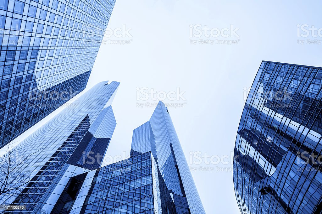 Blue Tall Office Skyscrapers royalty-free stock photo