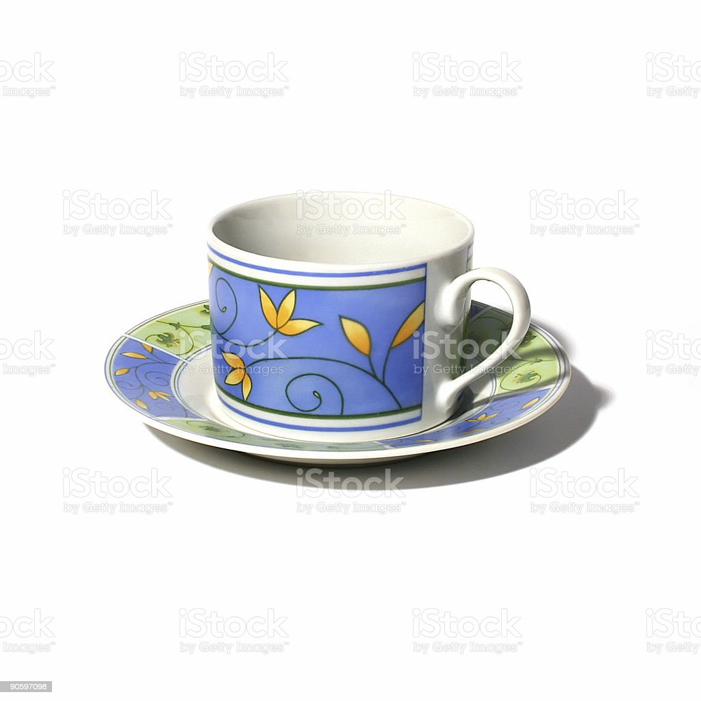 Blue tea cup on saucer royalty-free stock photo