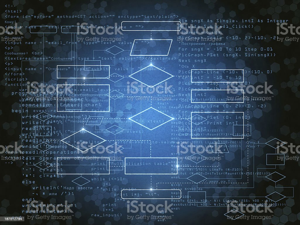 A blue technology programming board stock photo