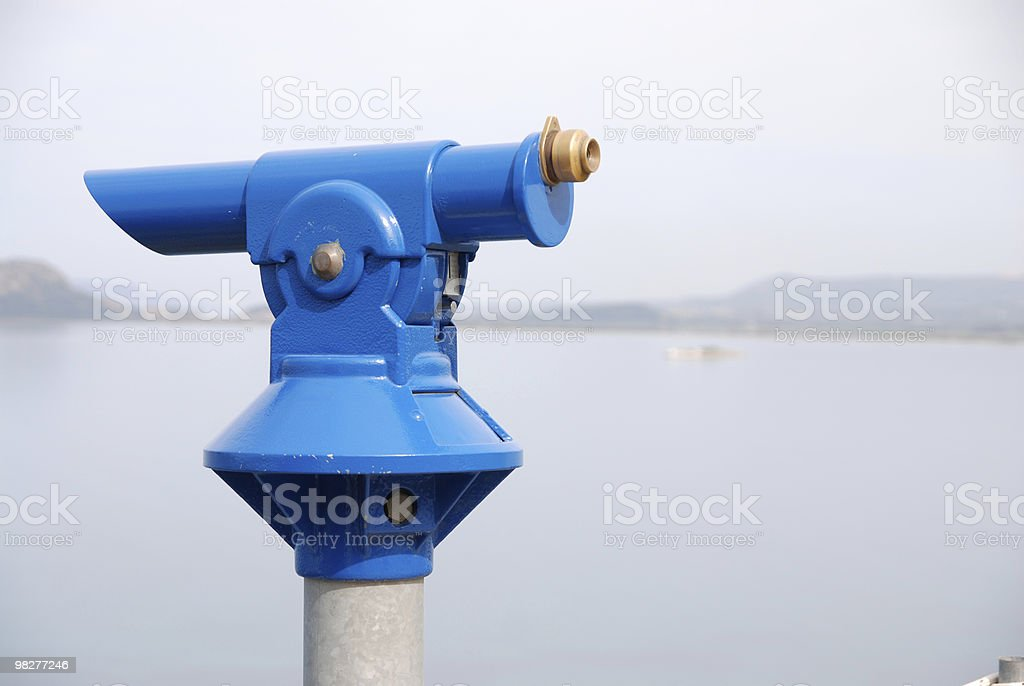 blue telescope at viewpoint royalty-free stock photo