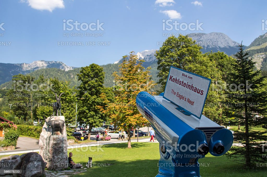 Blue telescope for looking at the Kehlstein, Germany, 2015 stock photo