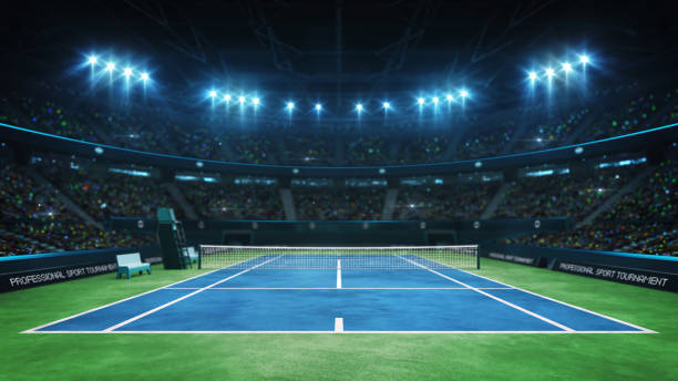 blue tennis court and illuminated indoor arena with fans, upper front view - tennis stock pictures, royalty-free photos & images
