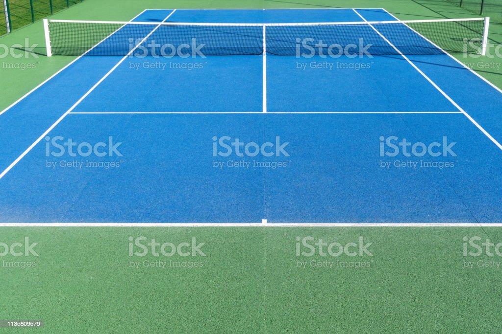 Blue Tennis court on Outdoor stock photo