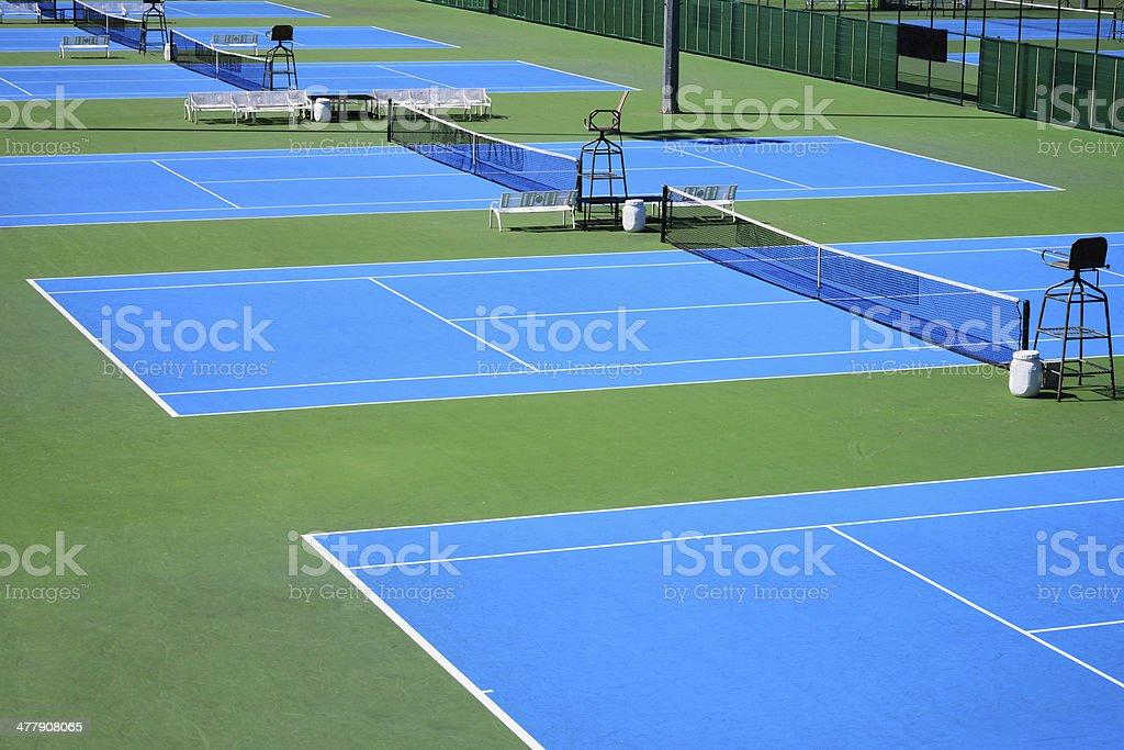 blue tennis court stock photo