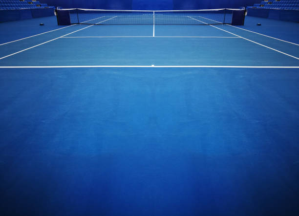 blue tennis court sport background - tennis stock pictures, royalty-free photos & images