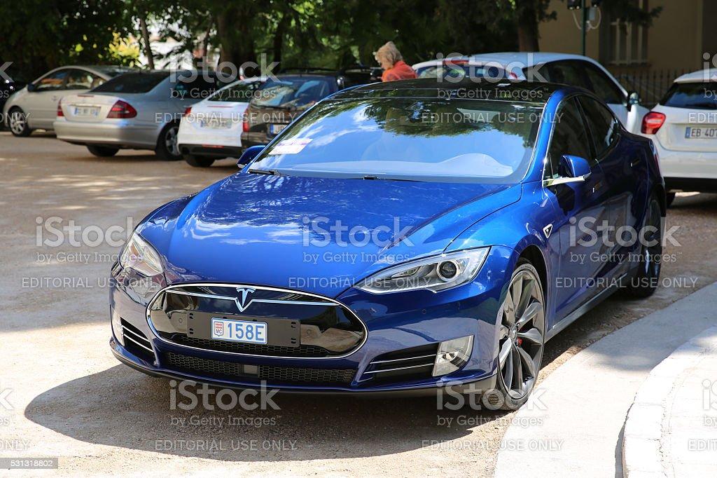 Blue Tesla Model S P90D stock photo