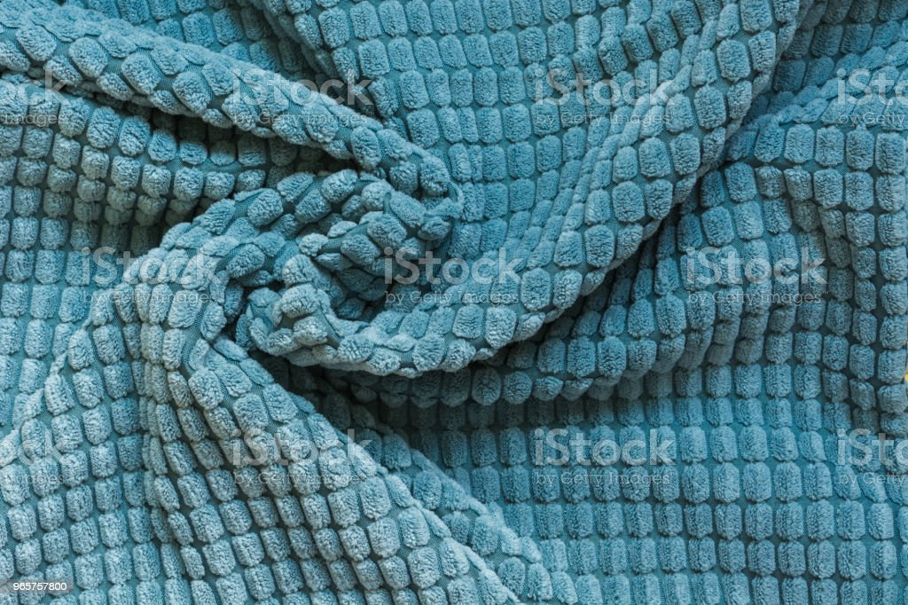 Blue textile, close up. Top view. Abstract checkered pattern. - Royalty-free 2018 Stock Photo