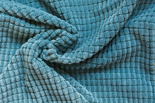 Blue Textile Close Up Top View Abstract Checkered Pattern Stock Photo - Download Image Now
