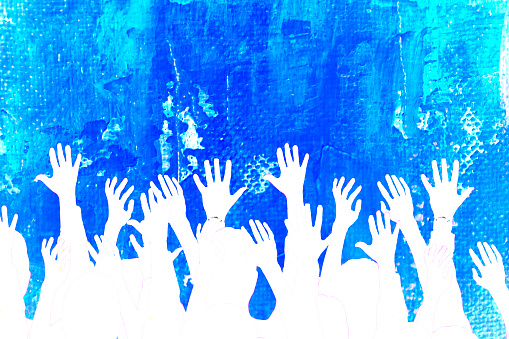 istock Blue textured background. Volunteers, voting. Hands raised. 477873090
