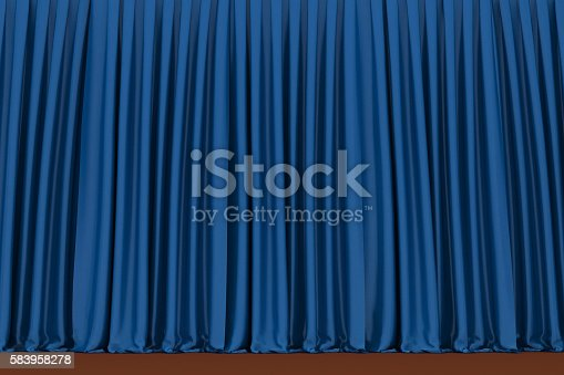 939154550 istock photo Blue theater curtain, 3d background 583958278